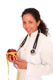 Doutor com maçã vermelha Imagens de Stock Royalty Free