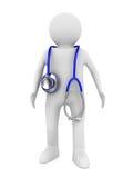 Doutor com o estetoscópio no fundo branco Imagem de Stock