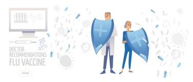 Doutor com seringa e tabuletas Medicina, ilustração lisa do conceito dos cuidados médicos O médico dos desenhos animados protege  ilustração stock