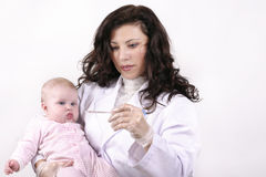 Doutor com termômetro Foto de Stock Royalty Free