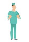 Doutor confuso caucasiano que shrugging ombros ilustração royalty free