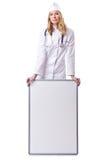 Doutor da mulher com placa Foto de Stock Royalty Free