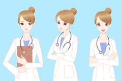 Doutor da mulher dos desenhos animados da beleza Imagens de Stock Royalty Free