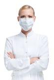 Doutor da mulher no respirador imagens de stock royalty free