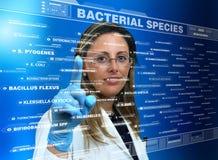 Doutor da mulher que usa uma relação virtual do tela táctil com uma lista fotos de stock