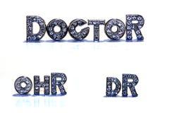 DOUTOR da palavra/Dr. no fundo branco Foto de Stock
