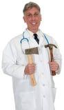 Doutor de grasnado engraçado Médico, isolado Foto de Stock Royalty Free