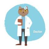 Doutor do gato que guarda o dobrador em suas mãos Foto de Stock Royalty Free
