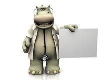 Doutor do hipopótamo dos desenhos animados com sinal. Imagem de Stock