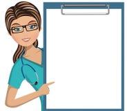 Doutor dobrador vazio grande da mulher isolado ilustração royalty free