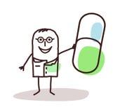 Doutor dos desenhos animados com a boa cápsula do dicine do ½ do ¿ do mï Imagens de Stock