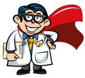 Doutor dos desenhos animados com um cabo do super-herói ilustração do vetor