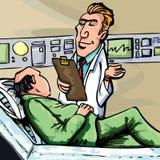 Doutor dos desenhos animados no revestimento branco Fotos de Stock Royalty Free