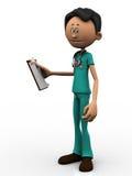 Doutor dos desenhos animados que prende uma prancheta. Fotos de Stock