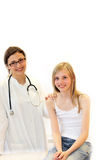 Doutor e criança novos na investigação. Imagem de Stock Royalty Free
