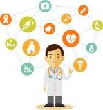 Doutor e grupo de ícones médicos Imagem de Stock