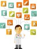 Doutor e grupo de ícones médicos Fotos de Stock