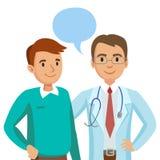 Doutor e paciente Homem que fala ao médico Vetor Fotos de Stock