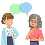 Doutor e paciente superior Mulher que fala ao médico Vetor Imagens de Stock