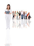 Doutor e pacientes no assoalho do espelho Imagens de Stock Royalty Free