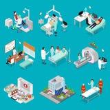 Doutor e símbolo da opinião isométrica de grupo de elemento do projeto da medicina Vetor Imagens de Stock Royalty Free