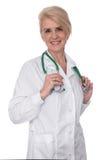 Doutor fêmea com o estetoscópio isolado fotografia de stock royalty free