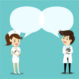 Doutor fêmea da enfermeira e do homem na conversação Doutor e enfermeira w ilustração do vetor