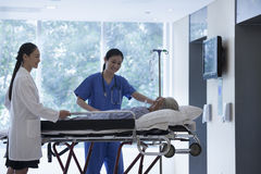 Doutor fêmea e enfermeira que rodam uma maca com um paciente nos salões do hospital foto de stock