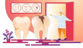 Doutor fêmea Inviting Patient da odontologia na sala ilustração do vetor
