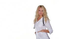 Doutor fêmea isolado no branco Foto de Stock Royalty Free