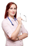 Doutor fêmea novo com vidros Imagens de Stock