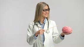 Doutor fêmea que aponta em um modelo do cérebro com uma vara vídeos de arquivo