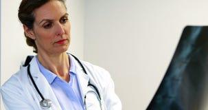 Doutor fêmea que examina um raio X video estoque