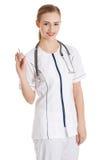 Doutor fêmea que guarda o alho imagens de stock