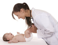Doutor fêmea e um bebê Fotos de Stock Royalty Free
