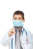 Doutor futuro com máscara e seringa Imagem de Stock Royalty Free