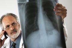 Doutor Looking no raio X e utilização do telefone de pilha Imagens de Stock