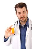 Doutor masculino Terra arrendada Vazio Droga Frasco Imagem de Stock Royalty Free