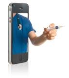 Doutor no telefone esperto Fotos de Stock Royalty Free