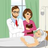 Doutor novo e enfermeira que visitam um paciente superior do ancião ilustração do vetor