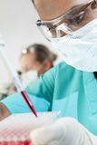 Doutor ou cientista fêmea asiático no laboratório Fotos de Stock Royalty Free