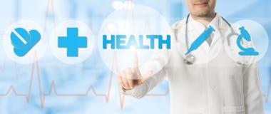 Doutor Points na SAÚDE com ícones médicos fotografia de stock royalty free
