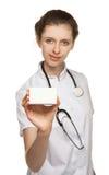 Doutor que anuncia a droga nova Foto de Stock