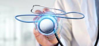 Doutor que guarda um 3d que rende o estetoscópio médico Imagens de Stock Royalty Free