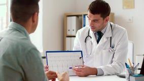 Doutor que mostra o cardiograma ao paciente no hospital filme