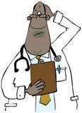 Doutor que olha uma carta paciente ilustração stock