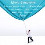 Doutor que puxa a bandeira dos sintomas de Ebola Fotografia de Stock