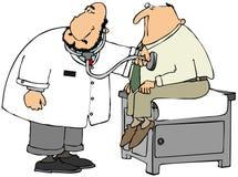 Doutor que verifica o coração do paciente ilustração do vetor