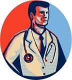 Doutor Stethoscope Standing Retro Fotografia de Stock