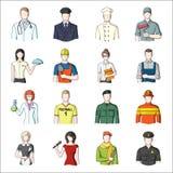Doutor, trabalhador, forças armadas, artista e outros tipos de profissão Ícones ajustados da coleção da profissão no vetor do est Imagens de Stock